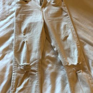 Topshop white distressed jeans